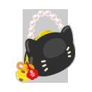 手持ち黒猫バッグ