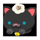 頭のせ黒猫 椿白