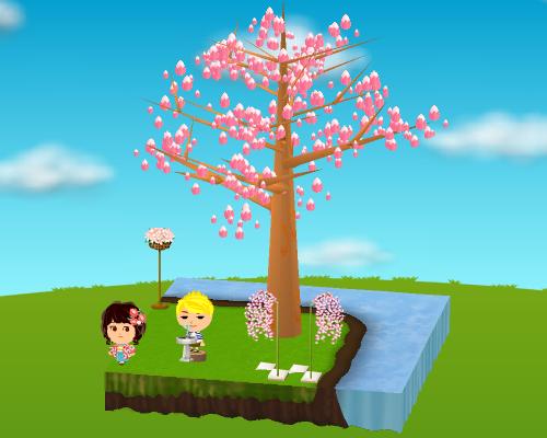 水飲み場、桜の花籠ライト、しだれ桜ピック(各種) 設置例(昼)