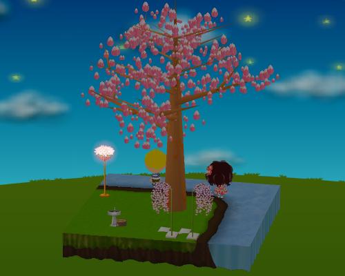 水飲み場、桜の花籠ライト、しだれ桜ピック(各種) 設置例(夜)