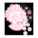 桜と扇の髪飾り