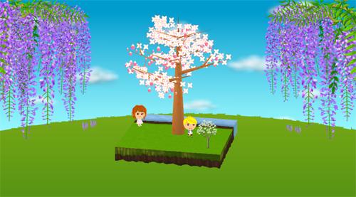 コイコイ藤の枝 右/左、ハナミズキ 白 設置例