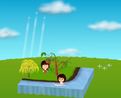 コイコイ飛行機雲、手漕ぎボート、柳の木B 設置例