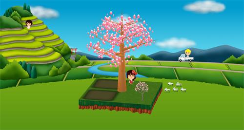 コイコイ田園風景、ハナミズキ ピンク 設置例