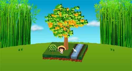コイコイ竹藪 左/右、白鷺のオブジェ、夏みかんの木 設置例