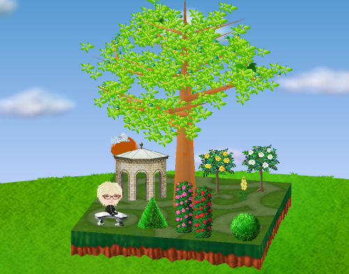 バラの木(各種)、西洋風あずまやA、磨かれた石のベンチ、バラの柱(各種)、トピアリー(各種)、キンギョソウ 黄 設置例