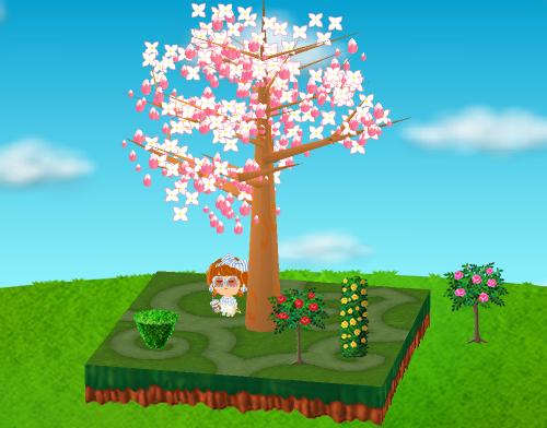 バラの木 ピンク、シャクヤク 赤、バラの柱 黄、トピアリー 逆三角 設置例