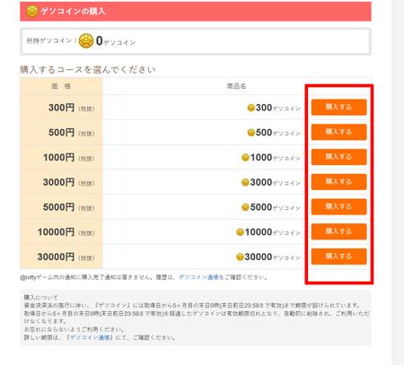 ゲソコインの購入ページ